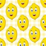 Modèle sans couture de citron heureux de bande dessinée Photos stock