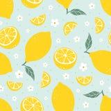 Modèle sans couture de citron sur le fond bleu-clair Illustration de vecteur Photos libres de droits