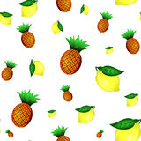 Modèle sans couture de citrons et d'ananas Illustration de vecteur Photo stock