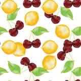Modèle sans couture de citrons et de Cherrys Images libres de droits