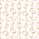 Modèle sans couture de coeur d'or rayures géométriques blanc rose, confettis-coeurs grunges d'or Symbole de l'amour, Saint Valent illustration libre de droits