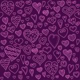 Modèle sans couture de coeurs d'amour Coeur de griffonnage fond romantique Illustration de vecteur Image libre de droits