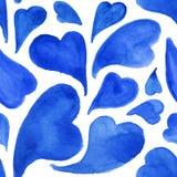 Modèle sans couture de coeurs d'aquarelle de Saint-Valentin bleue de saint illustration stock