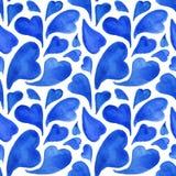 Modèle sans couture de coeurs d'aquarelle de Saint-Valentin bleue de saint Photographie stock