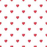Modèle sans couture de coeurs d'aquarelle de Saint-Valentin rouge de saint Photos libres de droits