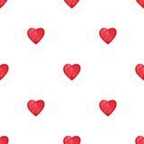 Modèle sans couture de coeurs d'aquarelle de Saint-Valentin rouge de saint Photos stock