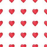 Modèle sans couture de coeurs d'aquarelle de Saint-Valentin rouge de saint Photo libre de droits