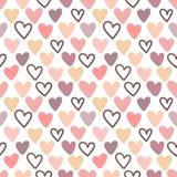 Modèle sans couture de coeurs dans les couleurs de rose, pourpres et beiges Image de vecteur pour la Saint-Valentin, amants, copi illustration de vecteur