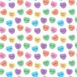 Modèle sans couture de coeurs de sucrerie illustration stock