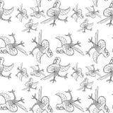 Modèle sans couture de coloration avec danser le perroquet des Caraïbes Vecteur illustration stock