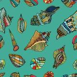 Modèle sans couture de coquille de coque de mer illustration stock