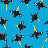 Modèle sans couture de corneilles drôles Petites corneilles drôles sur un fond bleu Papier peint d'enfants illustration de vecteur