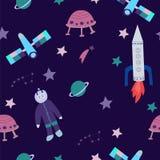 Modèle sans couture de cosmos puéril illustration stock