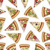 Modèle sans couture de couleur de 4 types pizza illustration stock