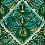 Modèle sans couture de couleur verte d'usine de vintage Image stock