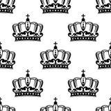 Modèle sans couture de couronne royale noire et blanche illustration de vecteur