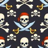 Modèle sans couture de crânes tirés par la main de pirate de vecteur de bande dessinée Images libres de droits
