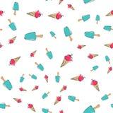 Modèle sans couture de crème glacée, fond coloré d'été, festins doux délicieux, illustration de vecteur photos libres de droits