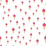Modèle sans couture de crème glacée, fond coloré d'été, festins doux délicieux, illustration de vecteur photographie stock