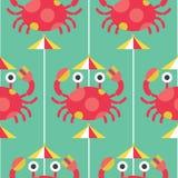 Modèle sans couture de crabe et d'umbralla Image stock