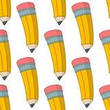 Modèle sans couture de crayon jaune de bande dessinée Photos libres de droits