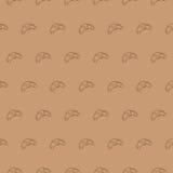 Modèle sans couture de croissant, fond d'ingrédients de nourriture de vecteur Photo libre de droits