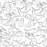 Modèle sans couture de croquis tiré par la main des chaussures Espadrilles de chaussures de course, bottes, bascules électronique Photos libres de droits