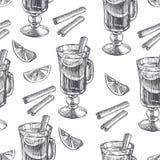 Modèle sans couture de cru de vecteur avec du vin chaud et des épices en gravant le style Texture tirée par la main avec la boiss illustration stock