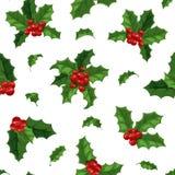 Modèle sans couture de décoration de baie de Noël Images libres de droits