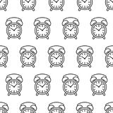 Modèle sans couture de découpe de noir d'icône d'alarme d'horloge sur un blanc Photo libre de droits