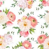 Modèle sans couture de dahlia, de ranunculus, rose et de pivoine de vecteur Image libre de droits