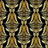 Modèle sans couture de damassé de l'or 3d Cru de luxe background or Photos libres de droits