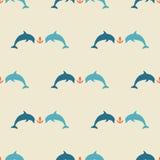 Modèle sans couture de dauphins de mer Photo libre de droits