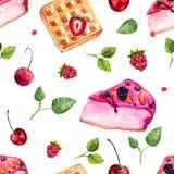 Modèle sans couture de desserts et de baies d'aquarelle Photographie stock libre de droits