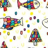 Modèle sans couture de dessin gratuit de poissons et d'arbre illustration de vecteur