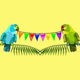 Modèle sans couture de deux perroquets avec des drapeaux sur le jaune Image libre de droits