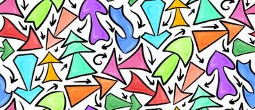 Modèle sans couture de différentes flèches chaotiques multicolores tirées par la main sur un fond blanc Image stock