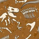 Modèle sans couture de dinosaure fossile Os de tyrannosaure Photos libres de droits