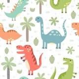 Modèle sans couture de dinosaures mignons Photos stock
