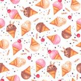 Modèle sans couture de divers cornets de crème glacée photo stock