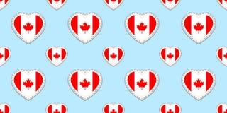 Modèle sans couture de drapeau de Canada Canadien de vecteur, stikers de drapeaux Symboles de coeurs d'amour Fond pour des pages  illustration stock
