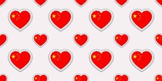 Modèle sans couture de drapeau de la Chine Le Chinois de vecteur marque des autocollants Symboles de coeurs d'amour Texture pour  Illustration Stock