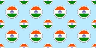 Modèle sans couture de drapeau rond d'Inde Fond indien Icônes de cercle de vecteur Symboles géométriques Donnez une consistance r Illustration Libre de Droits