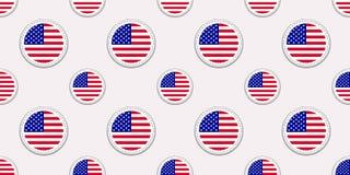 Modèle sans couture de drapeau rond des Etats-Unis Fond américain Icônes de cercle de vecteur Les symboles des Etats-Unis d'Améri Illustration de Vecteur
