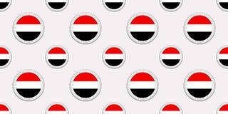 Modèle sans couture de drapeau de rond du Yémen Fond yéménite Icônes de cercle de vecteur Symboles géométriques Texture pour des  illustration libre de droits