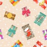 Modèle sans couture de fête de fond de cadeaux de Noël Image stock