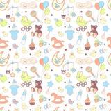 Modèle sans couture de fête de naissance Texture pour le bébé et le bébé garçon Image stock