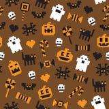 Modèle sans couture de fête de pixel de Halloween dans le vecteur illustration de vecteur