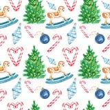 Modèle sans couture de fête de Noël et de nouvelle année sur le fond blanc avec des symboles des vacances d'hiver illustration stock