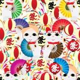 Modèle sans couture de feu d'artifice de lanterne de Maneki Bon Odori Image libre de droits